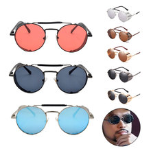 Round Fashion Steampunk Sunglasses Polarized Mirror Lens Glasses Men Women Vintage Metal Goggles Eyewear UV400