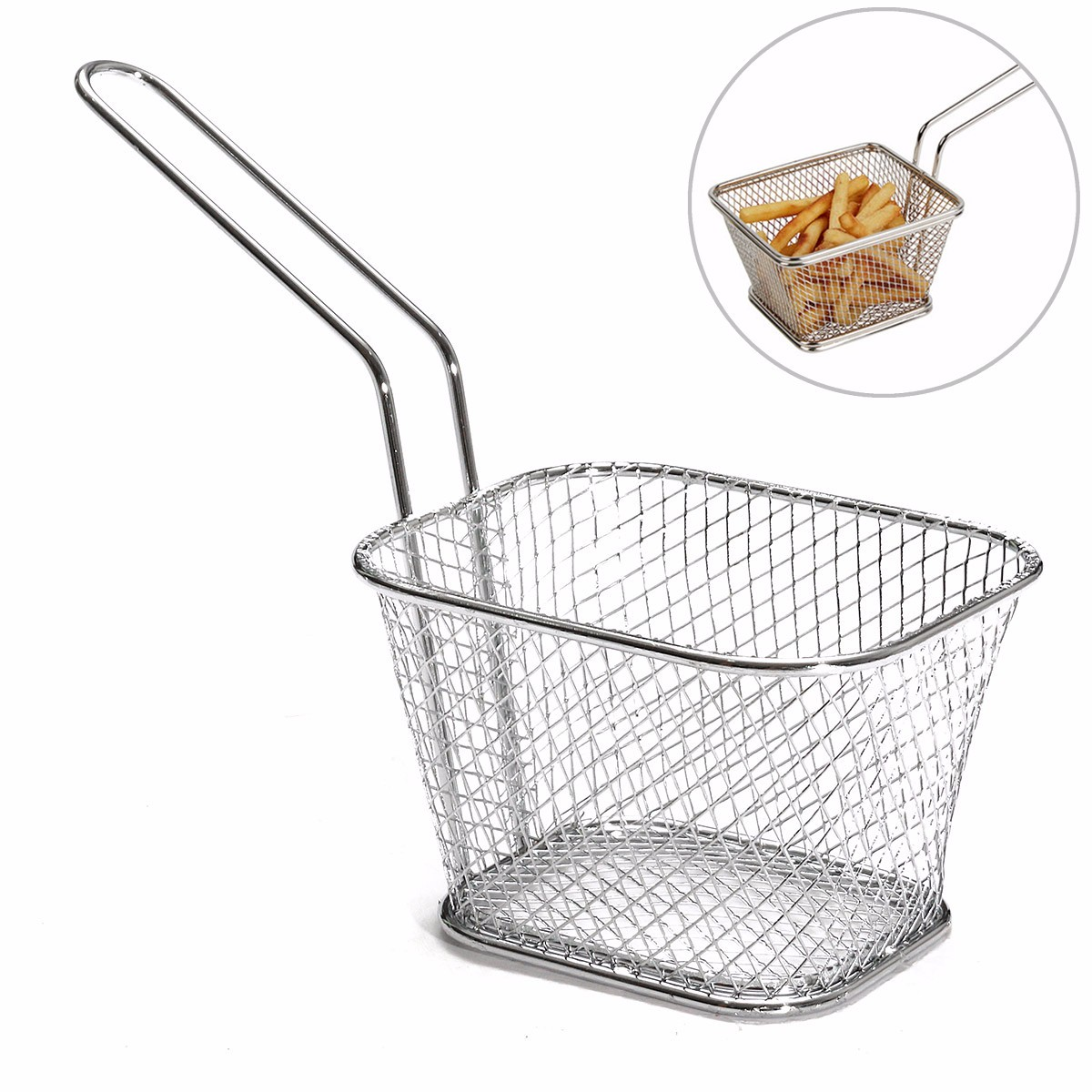 8Pcs Mini Mesh Wire French Fry Chips Baskets Net Strainer