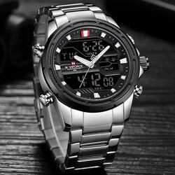 NAVIFORCE Top marka luksusowy mężczyzna zegarek kwarcowy ze stali nierdzewnej data wodoodporny Sport mężczyźni zegarek biznes mężczyzna Relogio Masculino