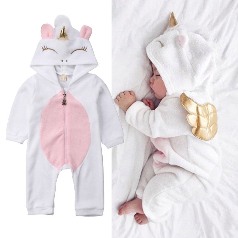 Newborn Baby Girls Winter Warm Rompers Coats Cute Cartoon Unicorn Flannel Jumpsuits With Wings Toddler Sleepwear Outfit Clothes