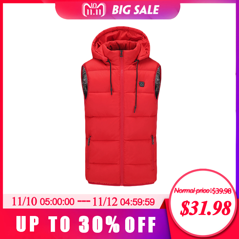 2018 Winter Hot sale Warm Electric Heated Jacket USB Charging Cotton Smart Heating Vest Hooded Electric Cotton Clothing large size autumn and winter men s stand collar heating cotton vest graphene electric vest adjustable usb charging heated cloth