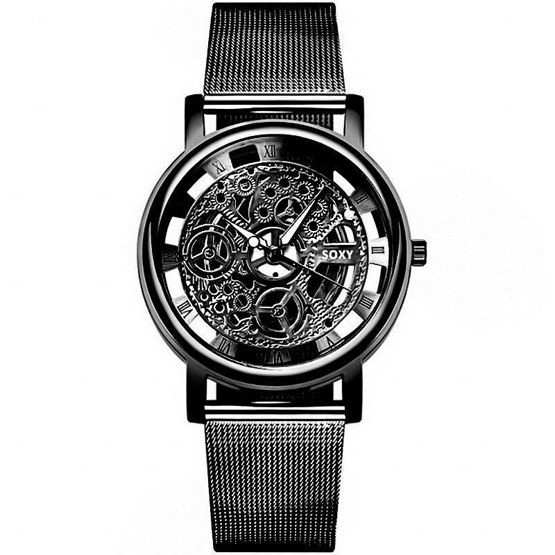 Shaarms Watch Men Engraving Hollow Reloj Hombre Dress Quartz Wristwatch Stainless Steel Strap Band Women Clock Relojes Mujer