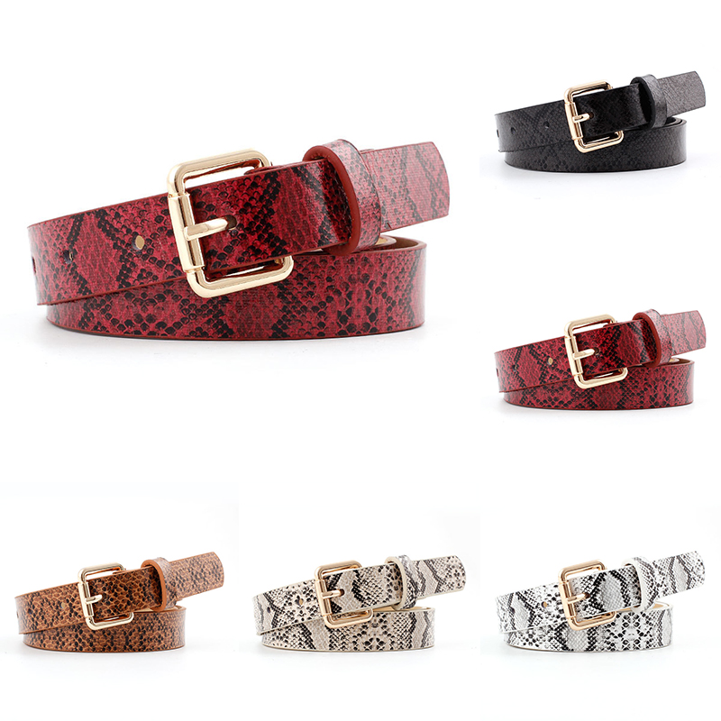 1PC Fashion Female Pu Leather Snake Waist Belt hot womens belts with buckle chain on pants off white belt Clothing Accessories