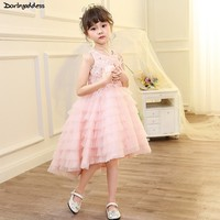 Pink High Low Flower Girls Dresses for Party And Weddings Feather Ball Gown Pageant Dresses for Little Girls Kids Evening Dress