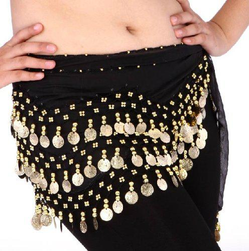 MISSKY Buy Home Chiffon Dangling Gold Coins Belly Dance Hip Skirt Scarf Wrap Belt (Black)