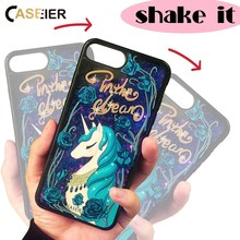 CASEIER Rainbow Case For iPhone 7 Plus Liquid Quicksand 3D Relief Cute Unicorn Fashion Design Cover