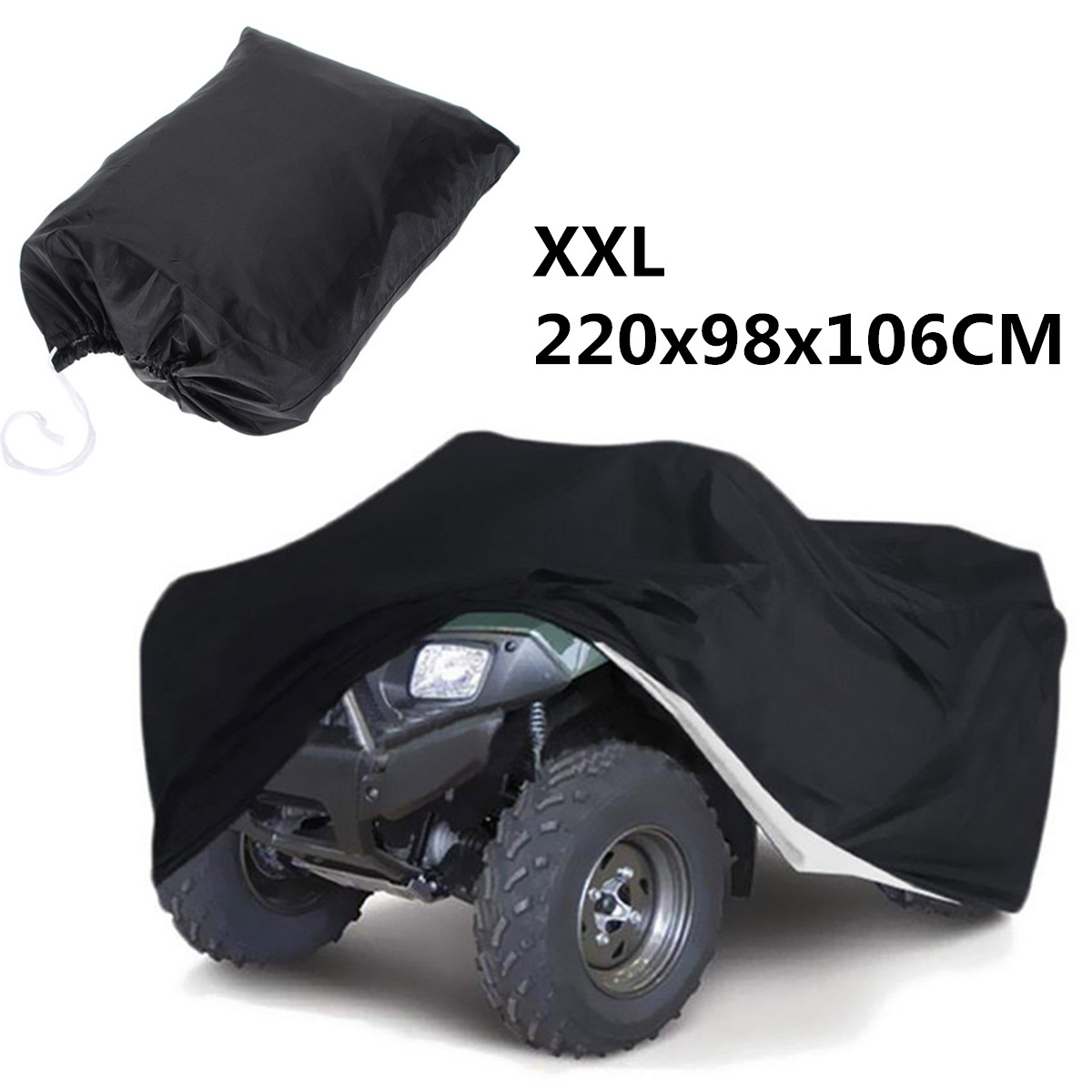 XXL 220x98x106cm Black Universal Motorcycle Quad Bike ATV ATC Cover PU Waterproof Heatproof