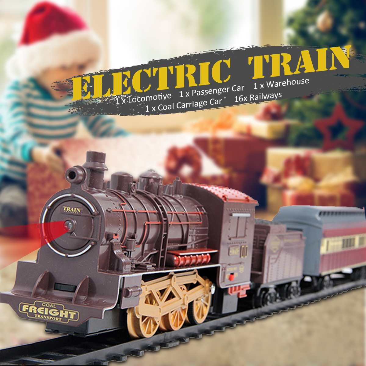 Electric Dynamic Steam Track <font><b>Train</b></font> Set 4Cars Simulation Passenger Carriage Kids Railway Track Toy Birthday Gift Educational Toy image