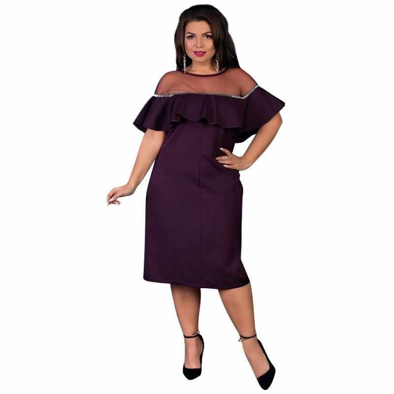 2019 lato sukienka na imprezę kobiety Bodycon bandaża sukni Plus rozmiar seksowna czarna sukienka Ruffles Mesh Midi sukienka 5XL 6XL duże Vestidos