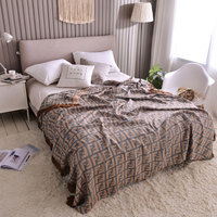 Yarn Dyed bamboo fiber Adult Blanket 4 Layers Muslin Throw with Tassels Summer Breathable Gauze Quilt Comforter Bedding Coverlet