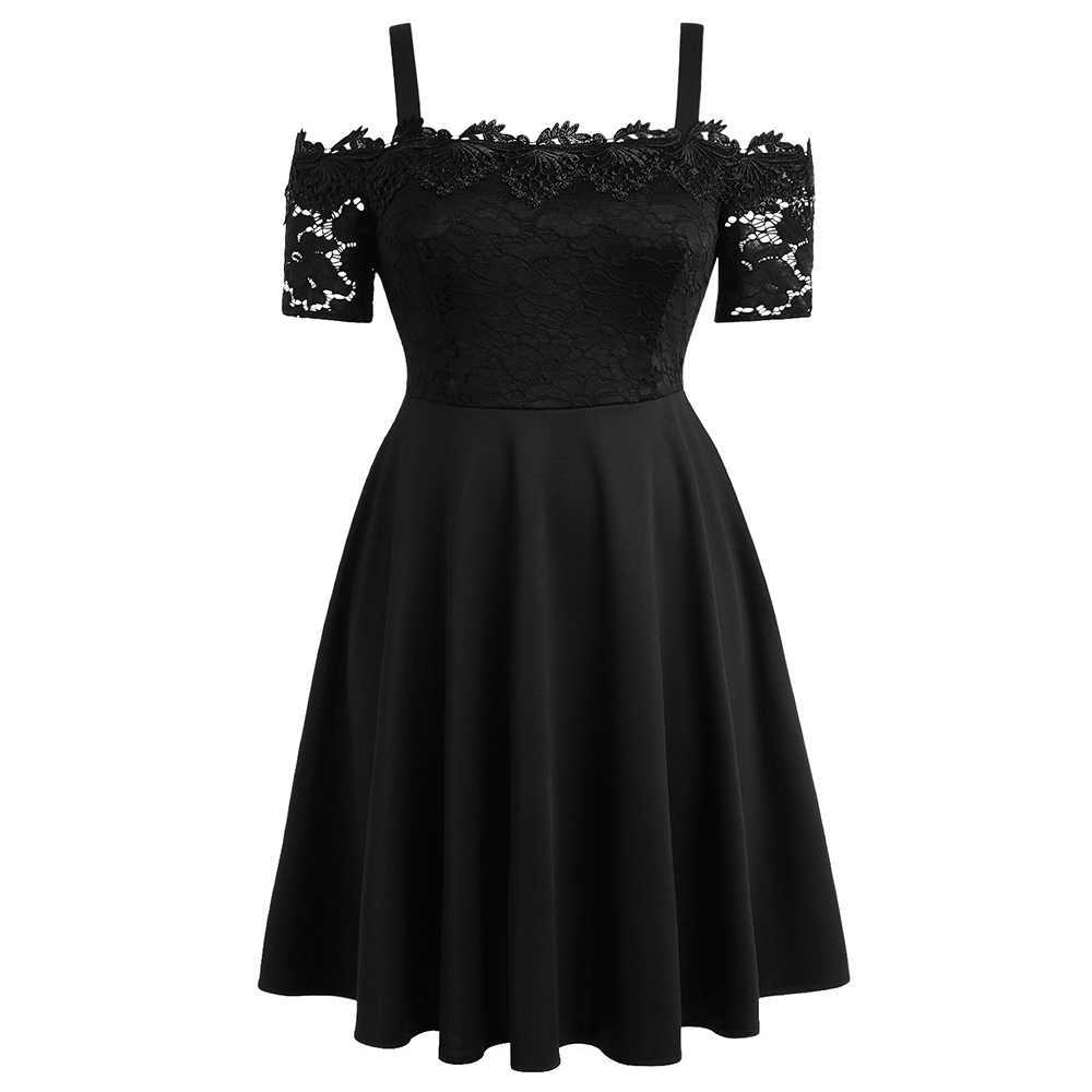 Wisalo плюс размер кружева панели расклешенное платье женщины холодное плечо с коротким рукавом А-силуэта Вечерние платья Женская весенняя одежда Vestidos