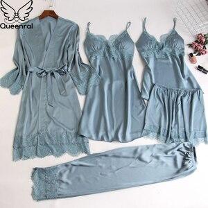 Image 3 - Queenral Silk piżama kobiety 5 sztuk zestawy Sexy koronkowa kobieta satynowa piżama lato Pijama Sexy Mujer bielizna nocna dla kobiet klatki piersiowej klocki