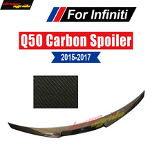 Q50 Spoiler Trunk Rear wing tail M4-Style Carbon fiber For Infiniti Q50S Tail Splitter 2015-17