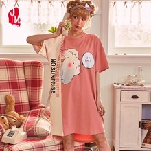Cotton Nightgowns Women Summer Sleepwear Short Sleeve Nightdress Sexy Female Nightwear Plus Size Home Dress Sleep