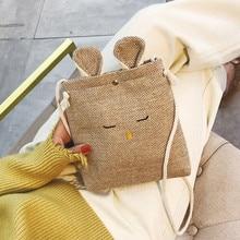 Women Girls Rabbit Shoulder Bags  Handbags Small Linen Crossbody Bag  Vintage Cell Phone Travel Bag Freeshipping