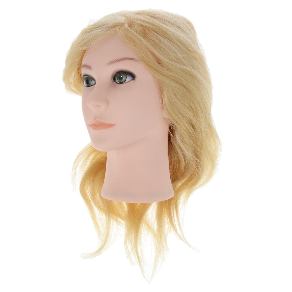 лучшая цена Long Gold Hair Mannequin Head with 100% Human Hair Professional Hairdresser Training Head