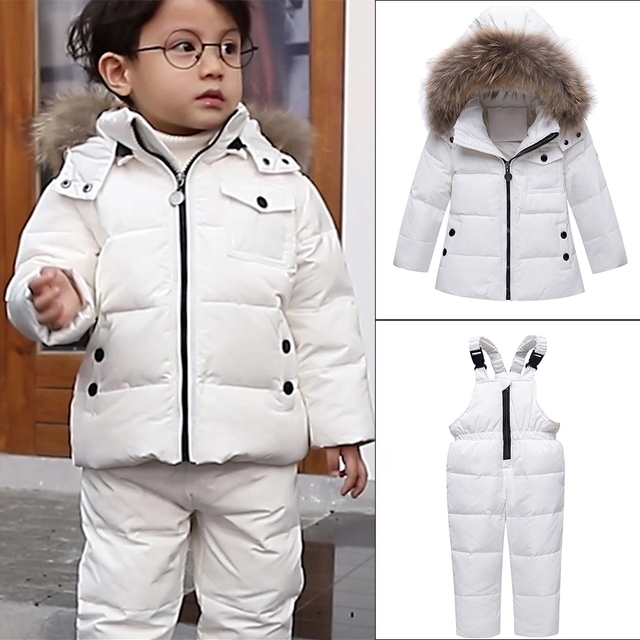 34bf74621bc1 Parka Real Fur Hooded Boy Baby Overalls Girl Winter Down Jacket Warm ...