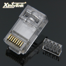 Xintylink rg45 conector de cabo ethernet rj45 tomada cat6 rede rg rj 45 8p8c gato modular 6 utp unshielded jack banhado a ouro 50 peças
