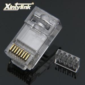 Image 1 - Xintylink rg45 conector de cabo ethernet rj45 tomada cat6 rede rg rj 45 8p8c gato modular 6 utp unshielded jack banhado a ouro 50 peças