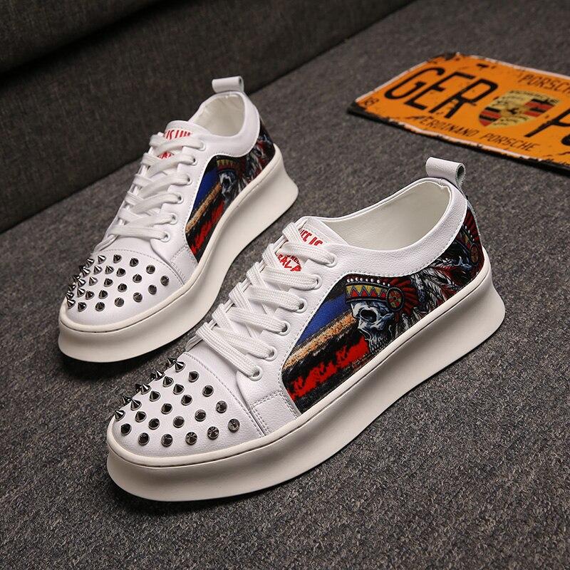 CuddlyIIPanda femmes mode Rivets chaussures homme luxe métal Graffiti baskets Hip Hop Punk bottes chaussures de rue Zapatillas Hombre