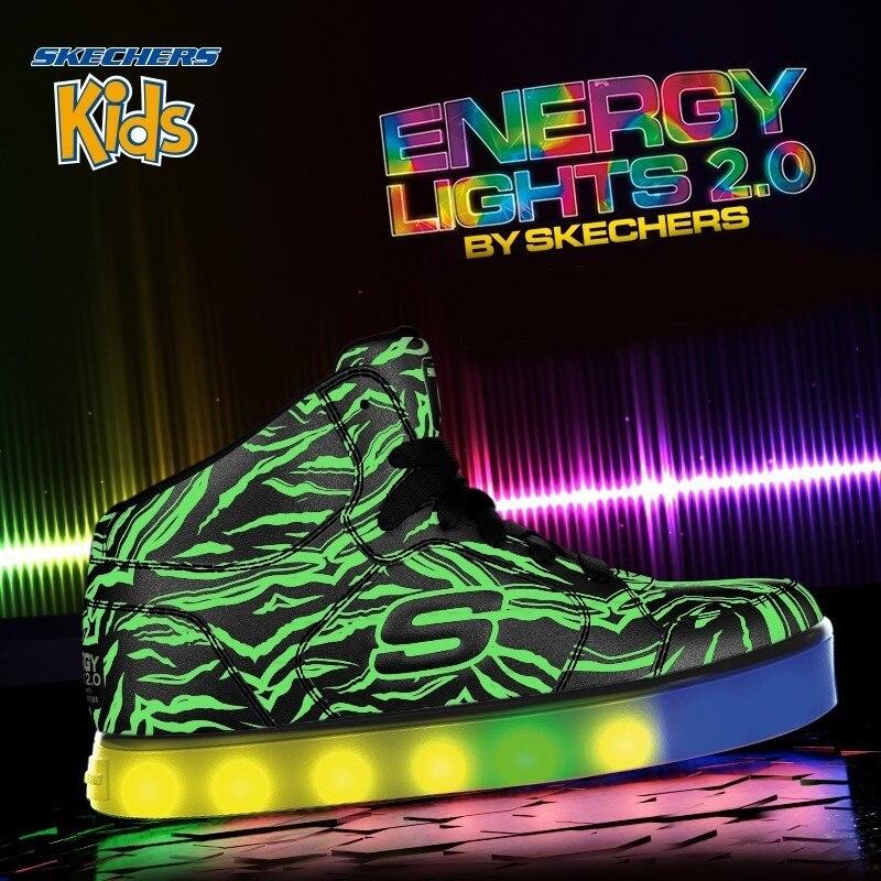 SKECHERS KIDS Скай странная детская обувь детская крутая модная светящаяся обувь Серебристые декоративные узоры кроссовки 90606L