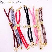 20 шт ZYZ337-8140 смешанный цвет Хлопок Веревка Браслет цепочка, регулируемый браслет, для изготовления браслета ювелирные аксессуары