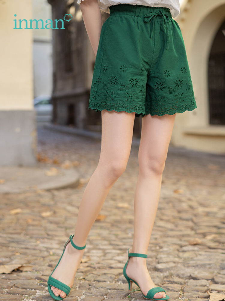 INMAN Summer Cotton Elastic Waist Hollowed Literary Young All Matched Casual Women Short Pants