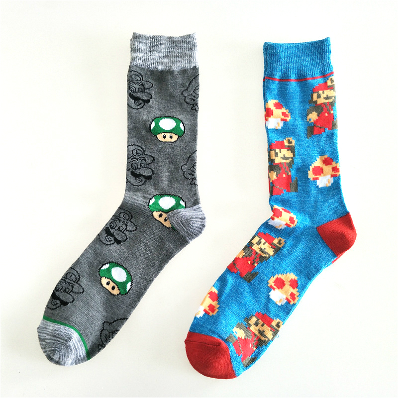 Fashion Cartoon Men Socks Funny Cartoon Super Mario Mushroom Print Happy Crew Cotton Short Socks Harajuku Style