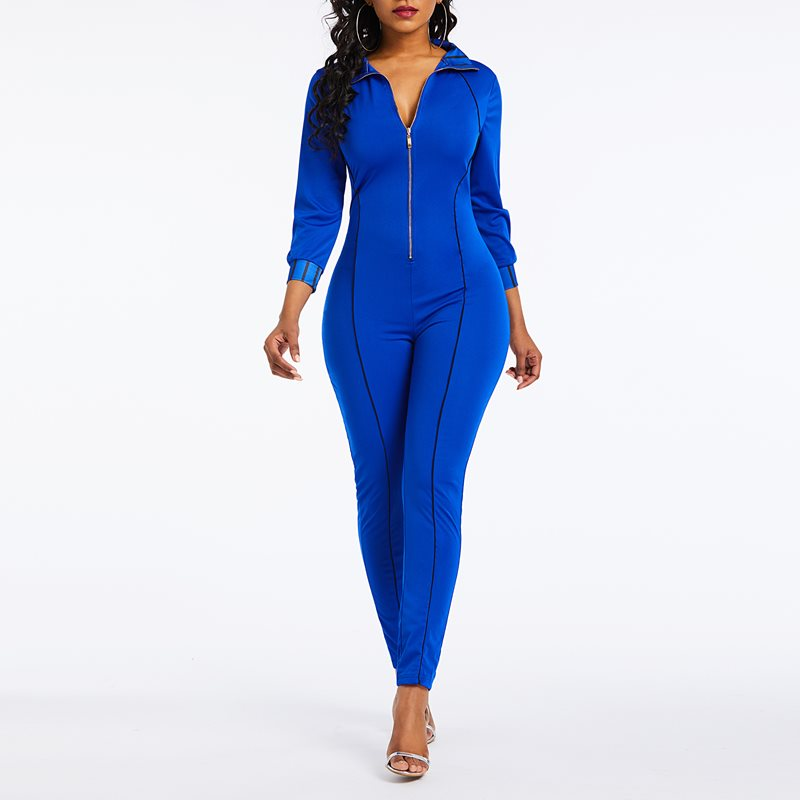 Women Jumpsuits Casual Elegant Office Lady Summer Blue Slim High Waist Solid Zipper Streetwear Straight Female Fashion Rompers