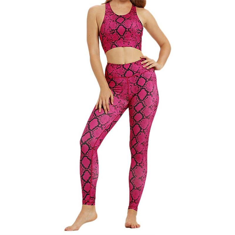 Women's Sports Running Fitness Set Moisture Wicking Yoga Clothes Tight-skin Snake Stitching Set Yoga Clothes