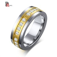 Bling AAA Cubic Zirconia Engagement Rings for Men Gold and Silver Two Tone Tungsten Carbide anillo masculino