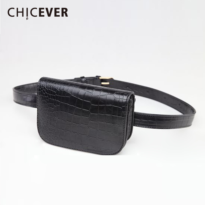 CHICEVER Women Belt Female With Bags PU Leather Cummerbund Black Bags Womens Fashion Harajuku 2019 Spring Accessories