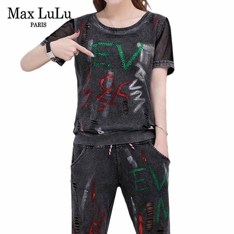 Max LuLu Summer Luxury Korean Vintage Ladies Mesh Tops And Pants Womens Two Pieces Set Printed