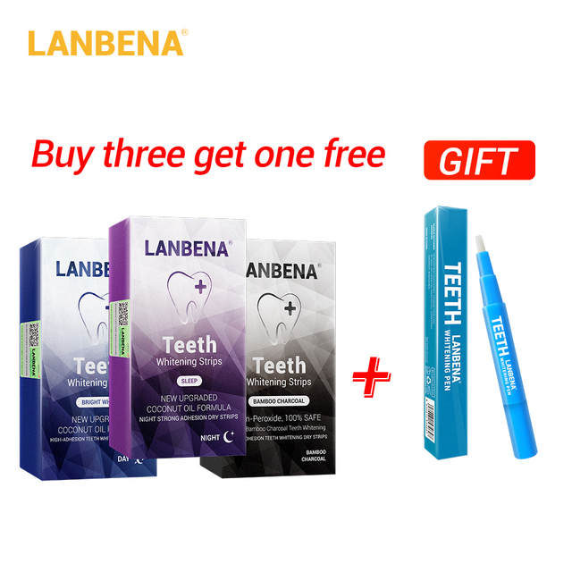 Buy 3 Get 1 Gift Lanbena Teeth Whitening Strips Oral Hygiene White Strips Removes Plaque Stains 3pcs+teeth Whitening Essence