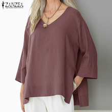 ZANZEA Women Blouse 2019 Summer Tunic Tops Ladies Casual Solid Work Office Shirt Chemise Femme Cotton Linen Blusa Feminina 5XL