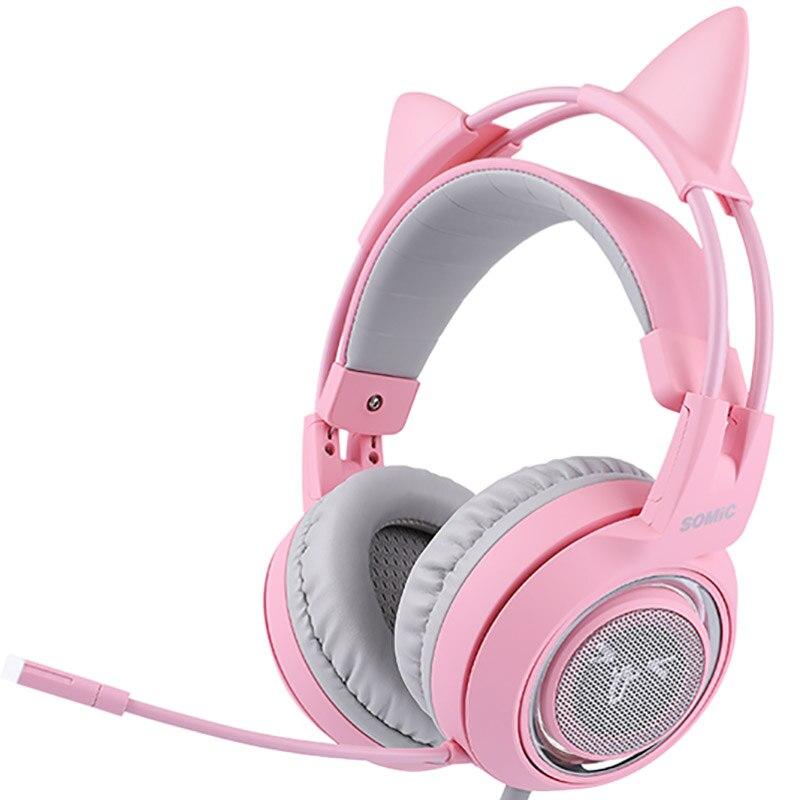 SOMIC G951 chat rose virtuel 7.1 suppression de bruit casque de jeu Vibration Led Usb casque fille casques pour Pc