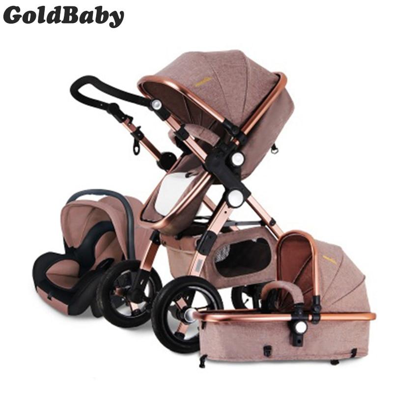 Poussette bébé doré 3 en 1 poussettes bébé siège auto poussettes analogiques avec livraison gratuite