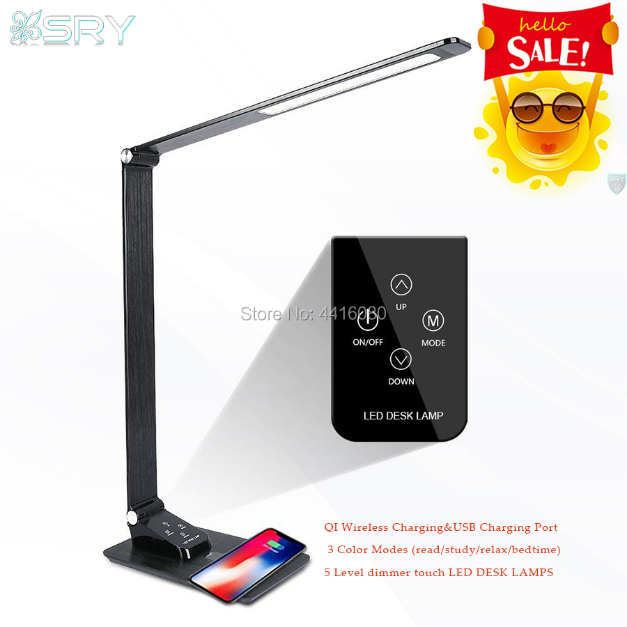 Qi Wireless charger led desk lamp USB charging port touch screen buttons&durable aluminum frame read/study/relax/bedtime Newest