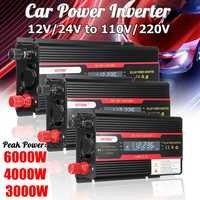 Falownik samochodowy 12V 220V 3000W 4000W 6000W moc szczytowa falownika konwerter napięcia transformator 12V 220V Inversor + wyświetlacz LCD