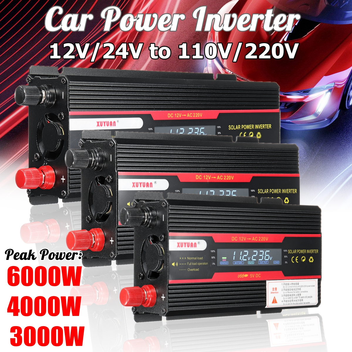 Inversor carro 12V 220V 3000W 4000W 6000W P eak Potência Do Inversor Conversor De Voltagem Transformador 12V 220V Inversor + Display LCD