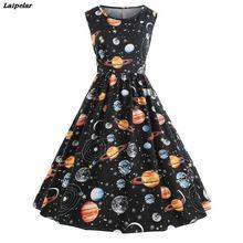 купить Women Vintage Printing  Starry Sky Planet Space Dress Fit and Flare sexy dress Print dames jurken zomer 2018 Fashion vestido дешево