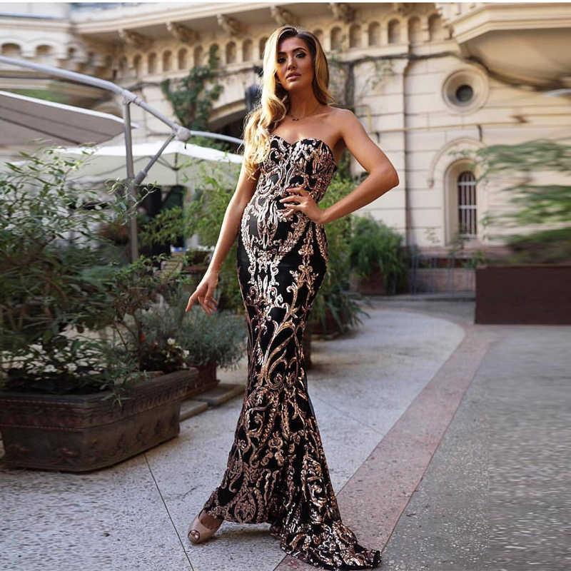 NATTEMAID 2019 קיץ ללא משענת Bodycon שמלת נשים סטרפלס ארוך המפלגה מקסי שמלות אלגנטי כבוי כתף נצנצים שמלת Vestidos