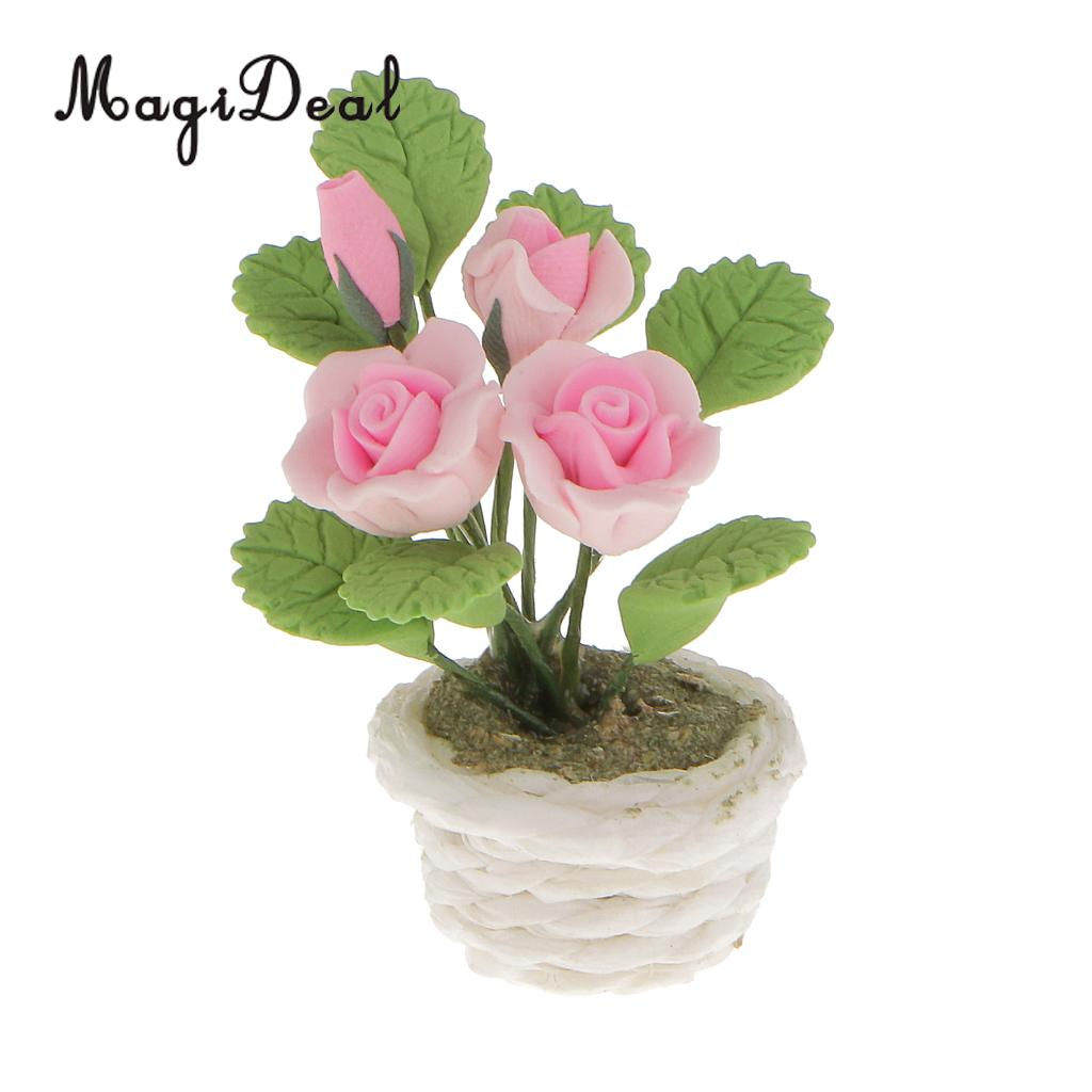 1//12 Dollhouse Miniature Garden Accs Clay Orchid Flower Plant with Pot