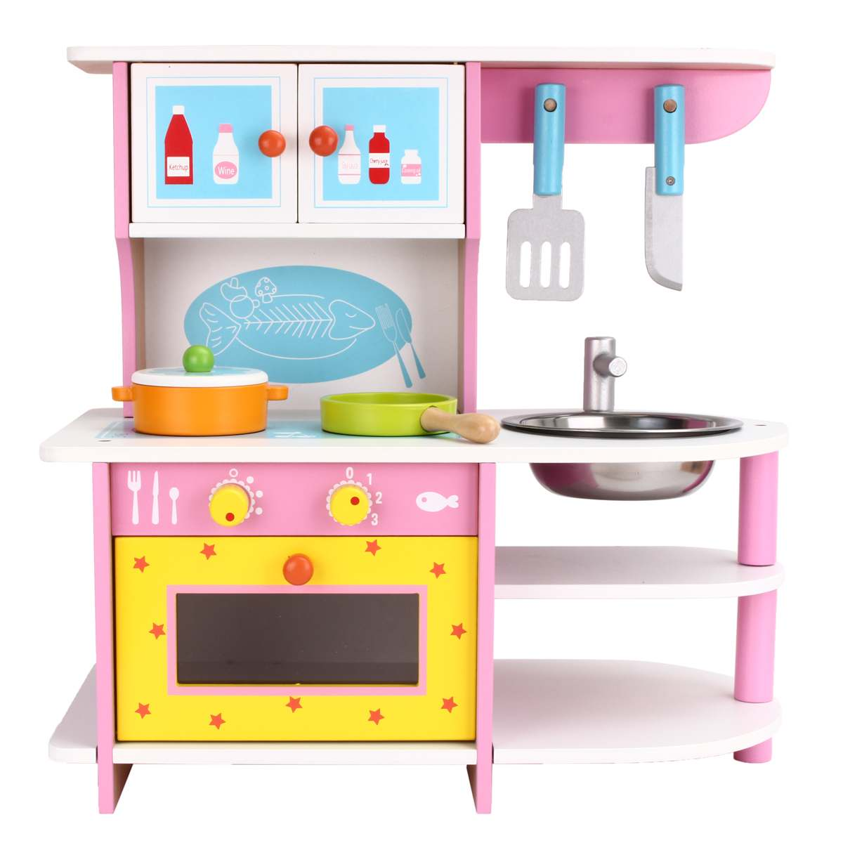 Pink Large Kids Wooden Kitchen Toys Pretend Play Children Role Play Pretend Toy Set Cooking Tools Kit Girls Birthday Gifts