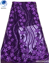 Beautifical purple sequin lace fabric nigerian sequins fabrics 2018 glitter flowers pattern 5yards/lot materials MX35N54