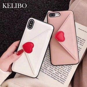Роскошный кожаный чехол-бумажник с вышитым сердечком, розовый чехол для телефона iPhone 7 8 6 6s Plus X XR XS Max, Модный милый чехол-накладка