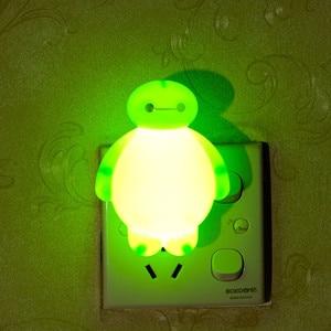 Image 2 - الإبداعية Baymax الكرتون LED ضوء الليل ل الظلام ليلة الأطفال نوم أباجورة 110 فولت 220 فولت الولايات المتحدة/الاتحاد الأوروبي التوصيل الطفل النوم ضوء