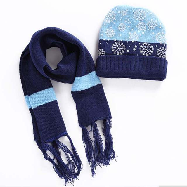 b71fd660933 FBIL-New Children Winter Warm Knitted Beanie Cap Scarf Set Christmas  Snowflake Pattern Hat Scarf Set For Baby Boys Girls