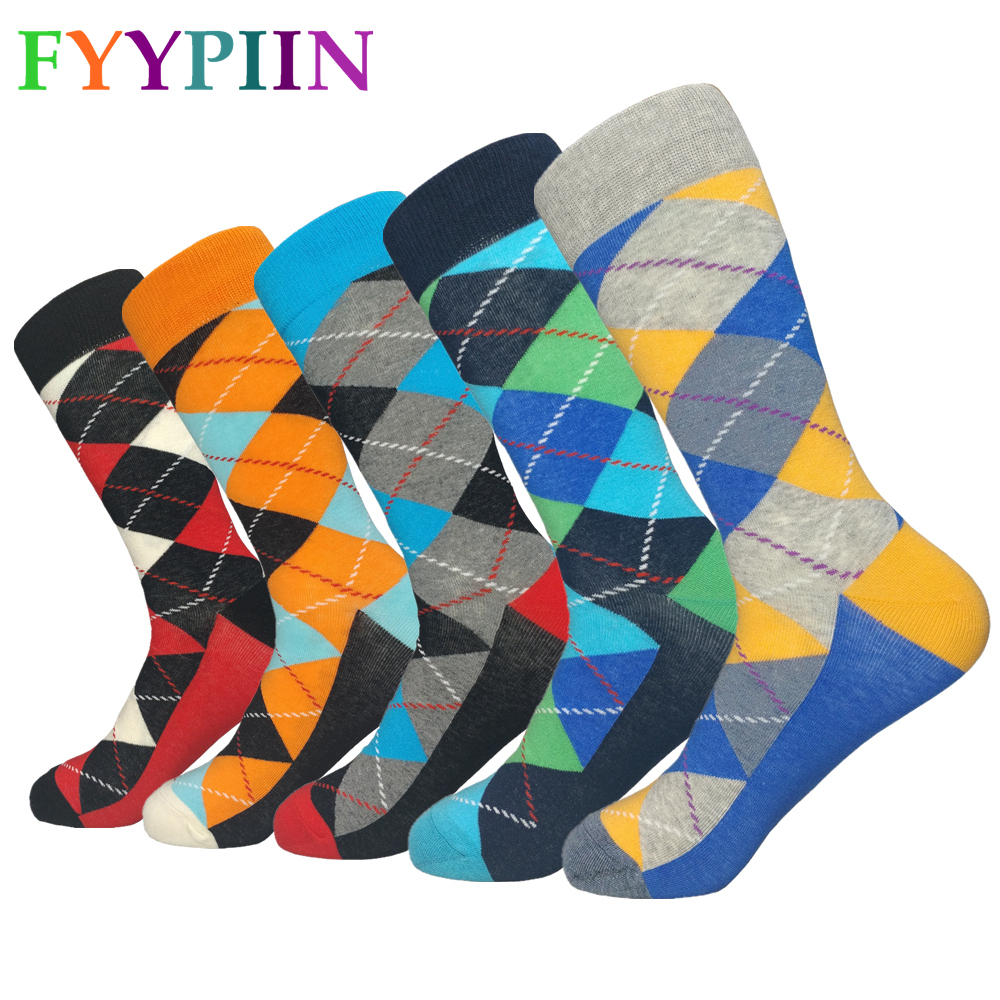 Men Socks Sokken 2019 New Socks Men's High Quality Long Business Casual Cotton Latest Design Happy Clothes (5 Pairs / Batch)