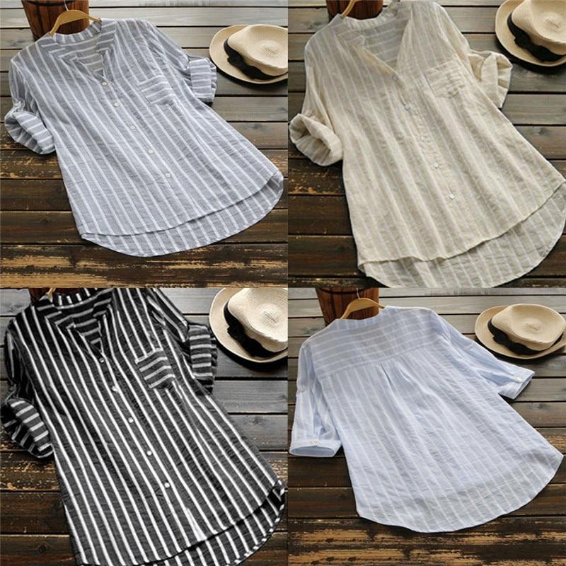 2019 New Ladies Woman Within Cotton Shirt Roll Sleeve Blouse Top Plus Size Women's Tops Shirt Female Blusa Feminina
